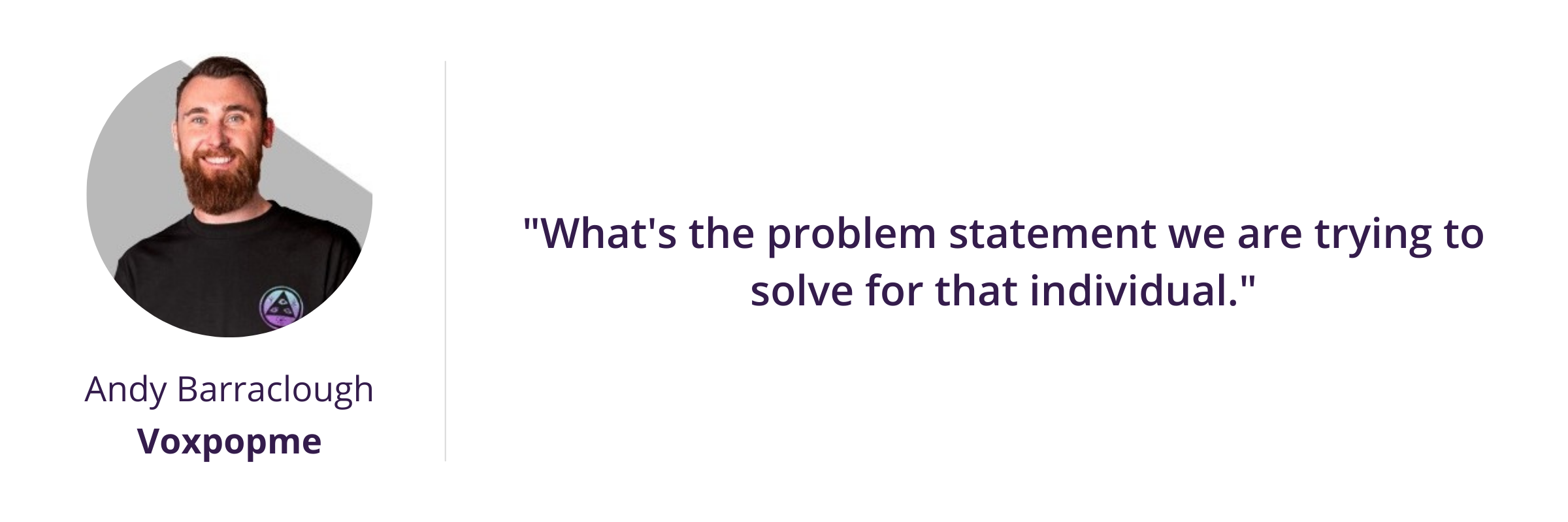 What's the problem statement we are trying to solve for that individual